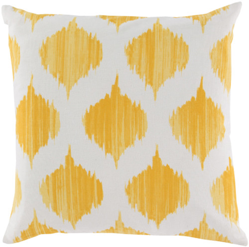 "22"" Yellow and White Contemporary Geometric Square Throw Pillow - Down Filler - IMAGE 1"