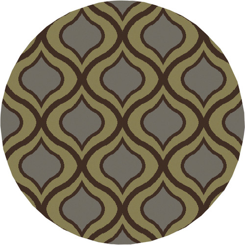 7.85' Gated Raindrops Olive Green and Gray Round Area Throw Rug - IMAGE 1