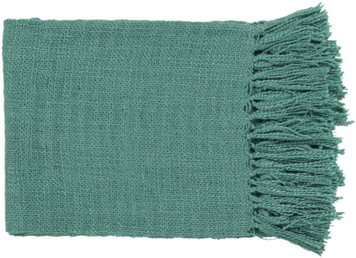 """Turquoise Blue Woven Fringed Throw Blanket 59"""" x 51"""" - IMAGE 1"""