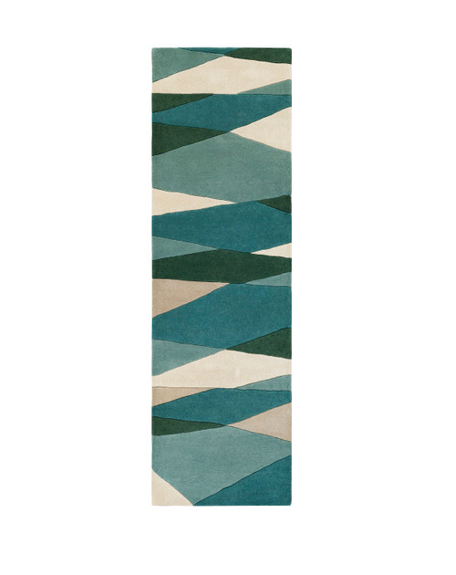 3' x 12' Pyramid Escape Caribbean and Slate Blue Carved Wool Area Throw Rug Runner - IMAGE 1