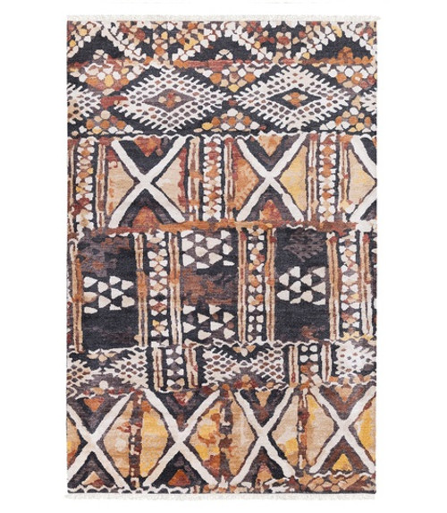 4' x 6' Brown and White Hand Knotted Rectangular Area Throw Rug - IMAGE 1