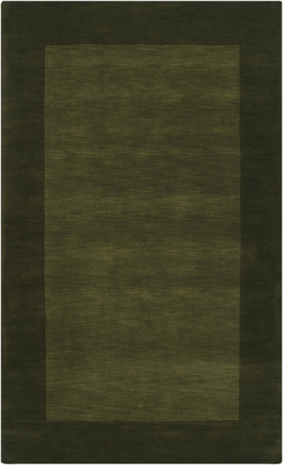 5' x 8' Solid Olive Green Hand Loomed Rectangular Wool Area Throw Rug - IMAGE 1