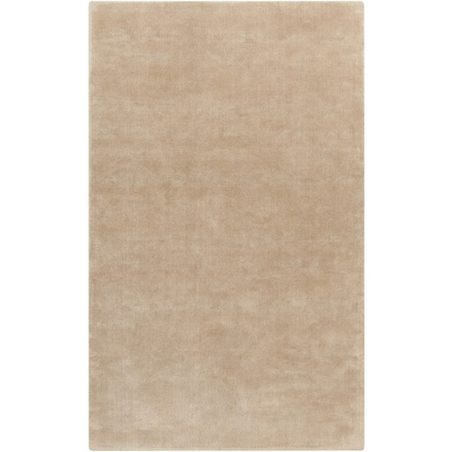 5' x 8' Solid Beige and Brown Hand Loomed Wool Area Throw Rug - IMAGE 1