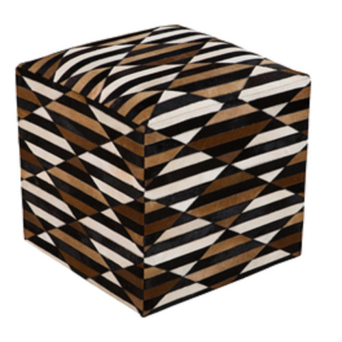 "18"" Black, Chocolate Brown and Ivory Striped Leather Square Pouf Ottoman - IMAGE 1"