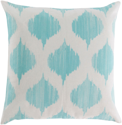 "22"" Blue and White Contemporary Geometric Square Throw Pillow - Down Filler - IMAGE 1"