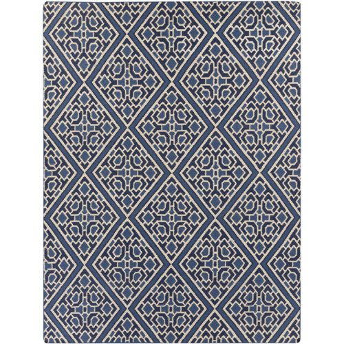 8' x 11' Navy Blue and White Hand Woven Area Throw Rug - IMAGE 1