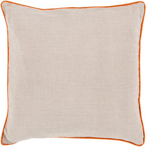 """18"""" Beige and Orange Contemporary Square Throw Pillow - IMAGE 1"""