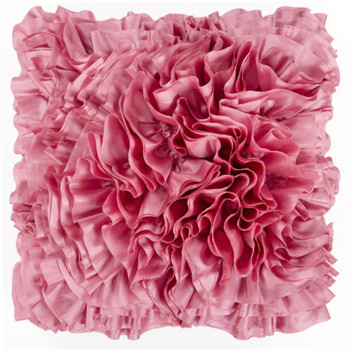 """18"""" Candy Pink Ruffled Chevron Square Throw Pillow - Down Filler - IMAGE 1"""