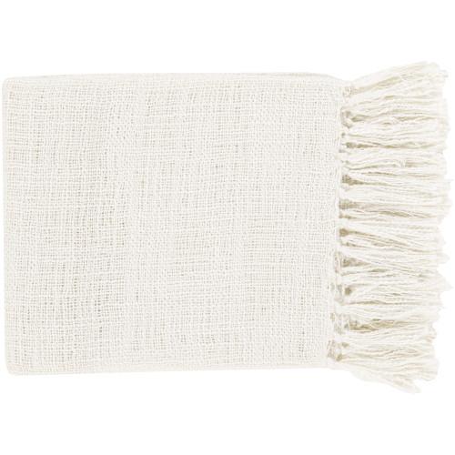 """59"""" x 51"""" Warm Weaves Ivory Fringed Throw Blanket - IMAGE 1"""