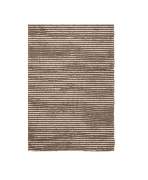 6' x 9' Beachy Boardwalk Beige and Barn Rafter Brown Hand Woven Wool Area Throw Rug - IMAGE 1