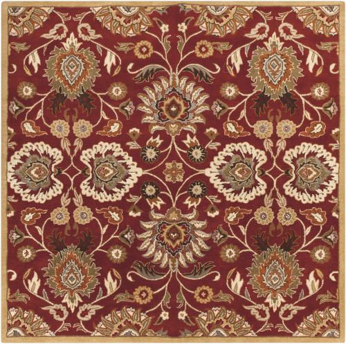 4' x 4' Octavia Maroon And Caramel Decorative Square Wool Area Throw Rug - IMAGE 1