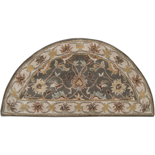 2' x 4' Floral Taupe Brown and Gray Hand Tufted Wool Hearth Area Throw Rug - IMAGE 1