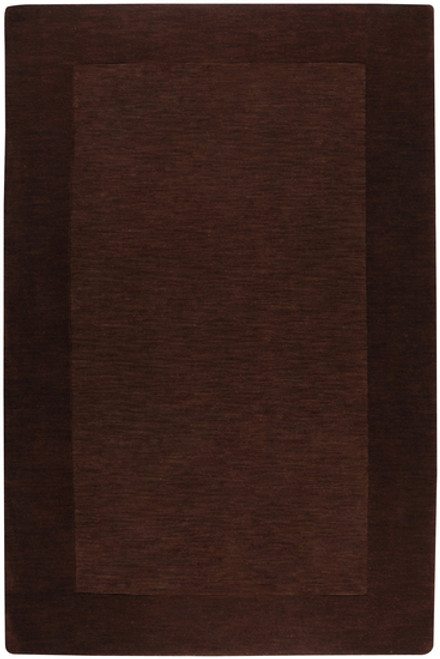 8' x 11' Solid Brown Hand Loomed Rectangle Wool Area Throw Rug - IMAGE 1