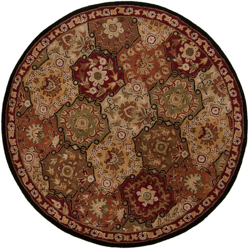 6' Clover Brown and Olive Green Round Wool Area Throw Rug - IMAGE 1