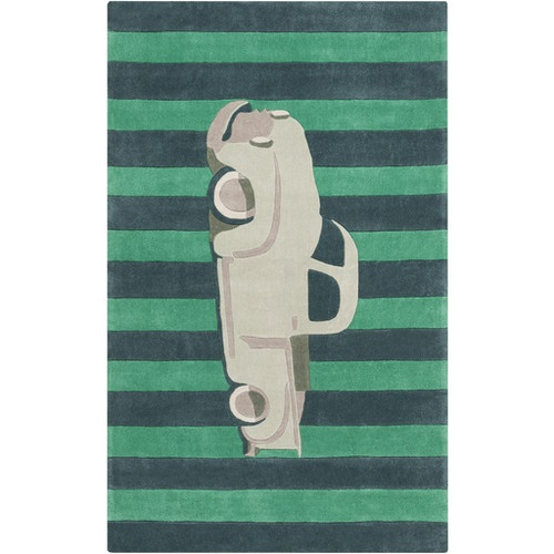 8' x 11' Striped Beige Classic Truck- Green and Blue - IMAGE 1