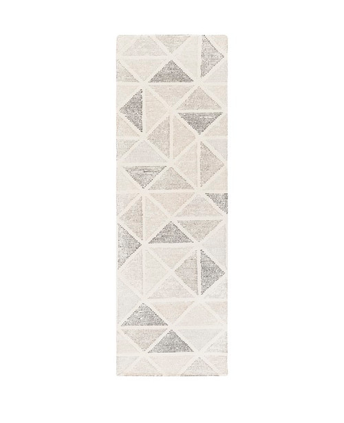 2.5' x 8' Harmonic Triangle Stones Taupe Gray and Creamy Khaki Hand Tufted with Loop Accents Area Throw Rug Runner - IMAGE 1