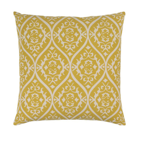 """20"""" Heavenly Hourglass Mustard Yellow and White Decorative Throw Pillow - Polyester Filled - IMAGE 1"""