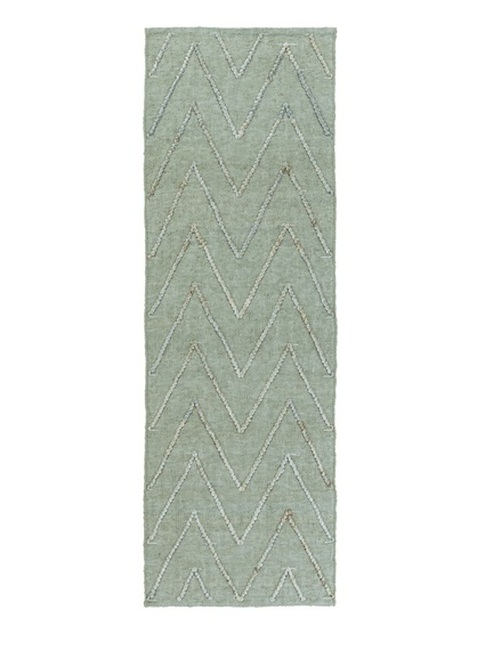 2.5' x 8' Light Slate Green and Cloud Blue Area Throw Rug Runner - IMAGE 1