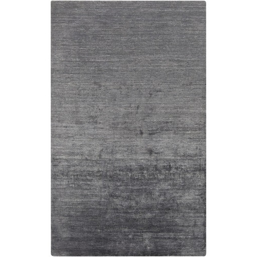 3.5' x 5.5' Gray Solid Contemporary Hand-Knotted Area Throw Rug - IMAGE 1
