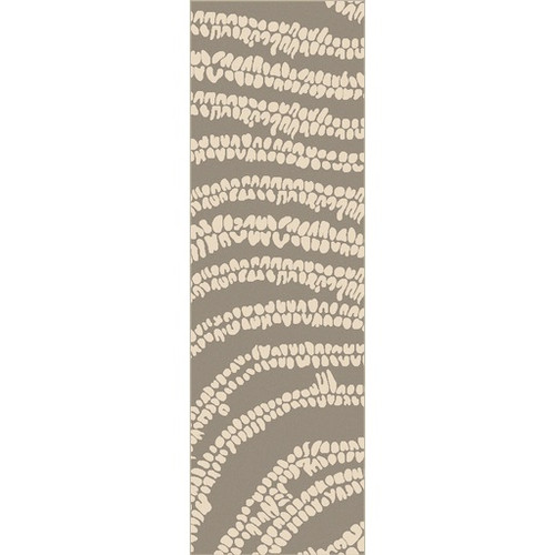 2.5' x 8' Abstract Beige and Olive Green Hand Loomed Rectangular Area Throw Rug Runner - IMAGE 1