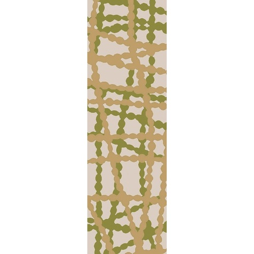 2.5' x 8' Stripes Lime Green and Autumn Brown Hand Hooked Area Throw Rug Runner - IMAGE 1