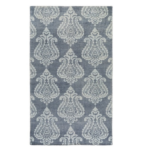 2' x 3' Contemporary Blue and Hazy Gray Hand Knotted Wool Area Throw Rug - IMAGE 1