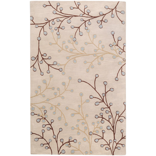 4' x 6' Brown and Gray Hand-Tufted Rectangular Wool Area Throw Rug - IMAGE 1