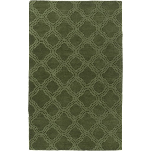 5' x 8' Geometrical Crosses Olive Green Hand Loomed Wool Area Throw Rug - IMAGE 1
