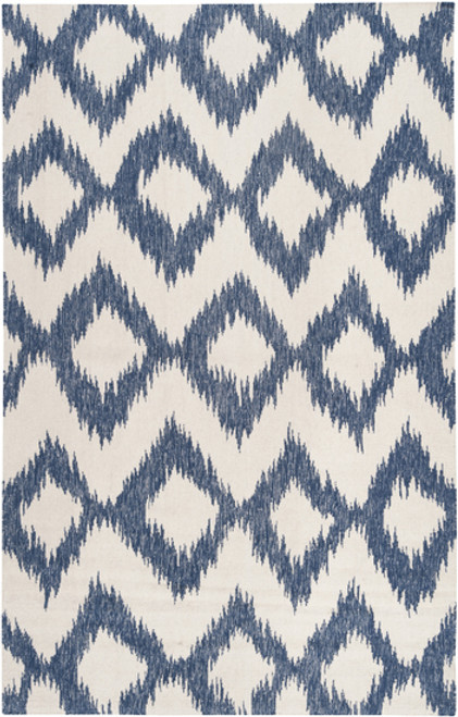 9' x 13' Diamond White and Navy Blue Hand Woven Wool Area Throw Rug - IMAGE 1