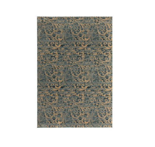 8.75' x 12.75' Distressed Mossy Green and Blue Rectangular Area Throw Rug - IMAGE 1