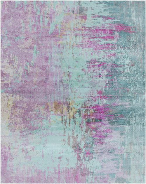 8' x 10' Blue and Purple Contemporary Rectangular Area Throw Rug - IMAGE 1