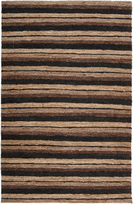 2' x 3' Black and Brown Stripe Hand Woven Area Throw Rug - IMAGE 1