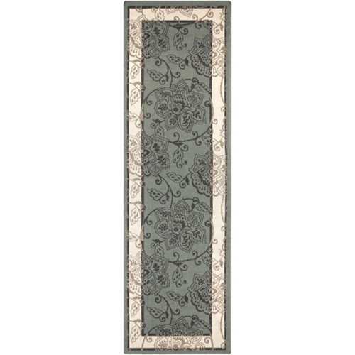 2.25' x 11.75' Green and Ivory White Floral Rectangular Area Throw Rug Runner - IMAGE 1