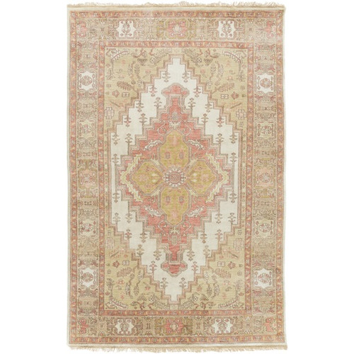 8' x 11' Tan Brown and White Rectangular Hand Knotted Wool Area Throw Rug - IMAGE 1