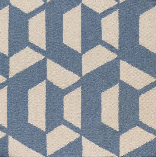 5' x 7.5' Shadowy Gems Blue and White Hand Woven Rectangular Area Throw Rug - IMAGE 1