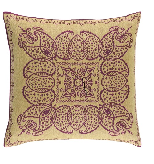 """20"""" Pink and Yellow Embroidered Medallion Square Throw Pillow - IMAGE 1"""