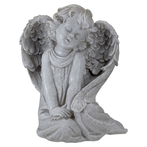 """8.75"""" Gray Sitting  Angel with Wings Outdoor Garden Statue - IMAGE 1"""