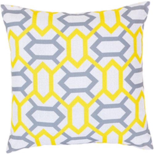 """22"""" Yellow and Blue Geometric Throw Pillow - Down Filler - IMAGE 1"""