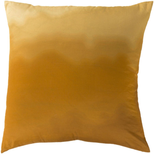 """22"""" Brown and Yellow Contemporary Square Throw Pillow - Down Filler - IMAGE 1"""