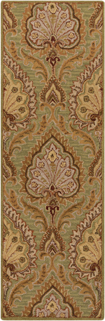 2.5' x 8' Brown and Gold Hand Tufted Wool Area Throw Rug Runner - IMAGE 1