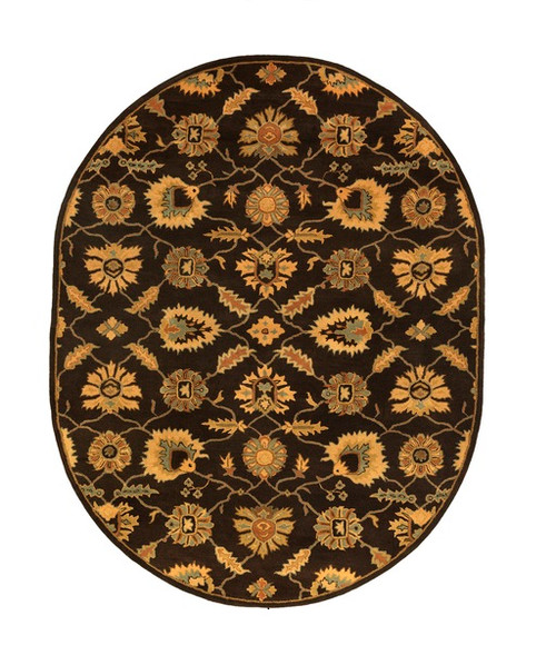 8' x 10 ' Brown and Ivory Hand Tufted Oval Wool Area Throw Rug - IMAGE 1