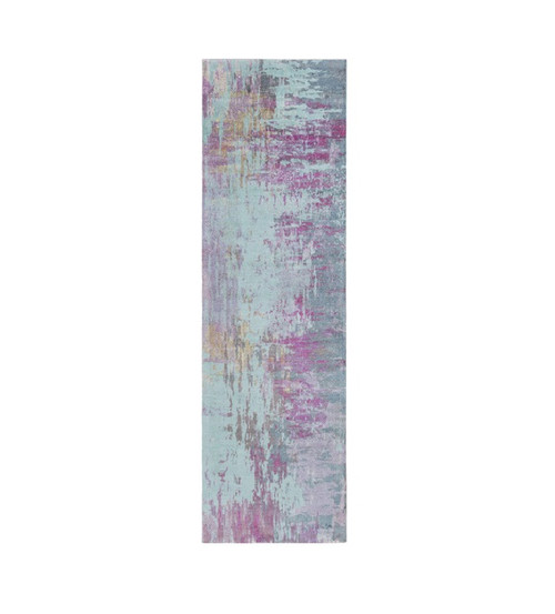 2.5'  x 8' Blue and Purple Contemporary Rectangular Area Throw Rug Runner - IMAGE 1