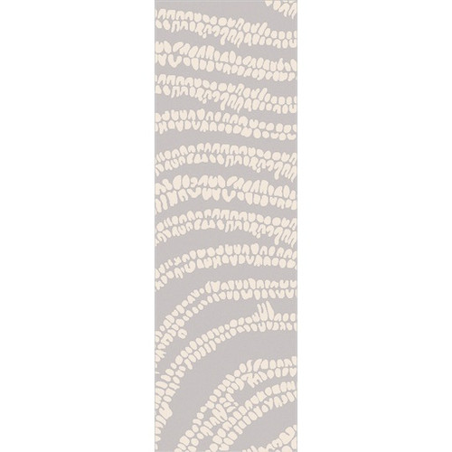 2.5' x 8' Abstract Beige and Blue Hand Loomed Rectangular Area Throw Rug Runner - IMAGE 1