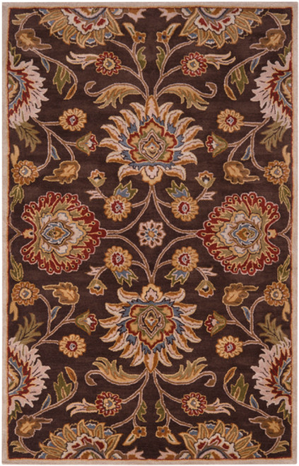 2' x 3' Floral Olive Green and Russet Brown Rectangular Wool Area Throw Rug - IMAGE 1
