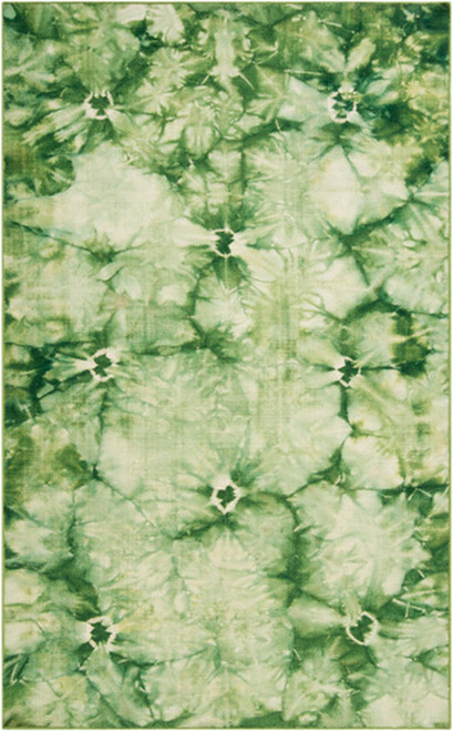 2' x 3' Green and Ivory Hand Woven Wool Rectangular Area Throw Rug - IMAGE 1