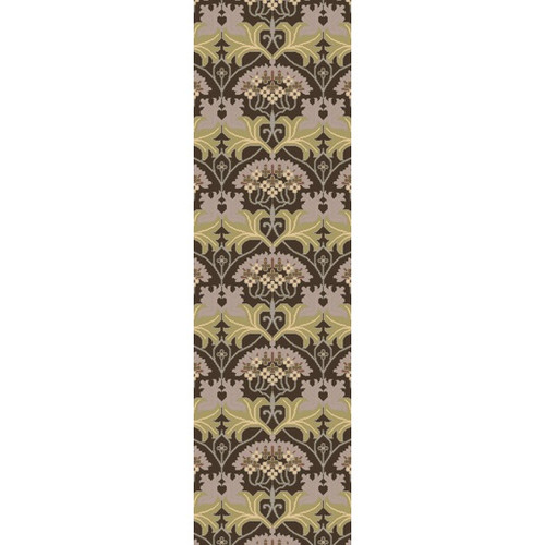 2.5' x 8' Olive Green and Lavender Purple Wool Rectangular Area Throw Rug Runner - IMAGE 1