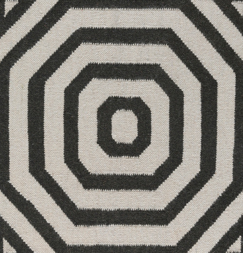 4' x 6' Spiral Gray and Black Hand Woven Wool Area Throw Rug - IMAGE 1