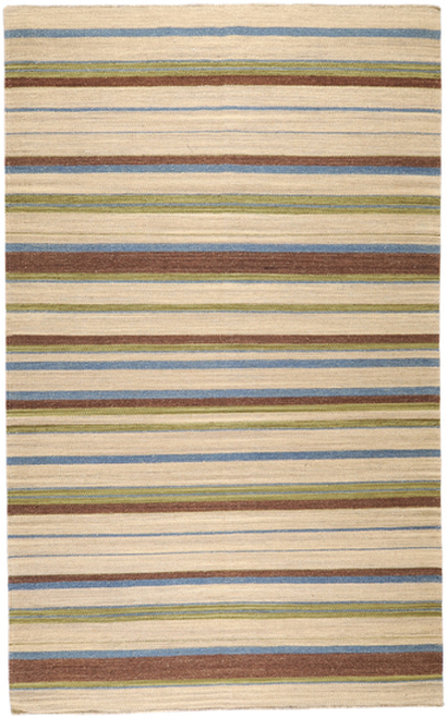 2' x 3' Neoteric Brown and Green Hand Woven Striped Rectangular Wool Area Throw Rug - IMAGE 1