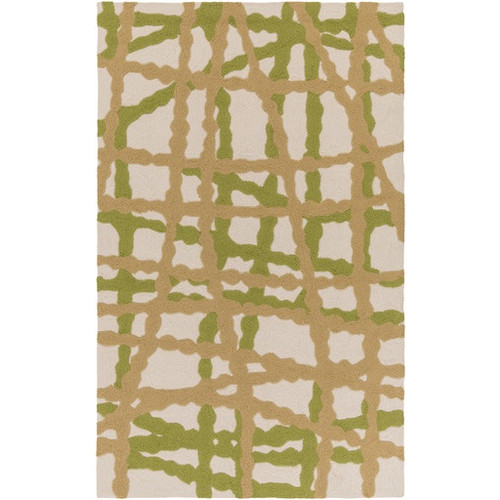 5' x 7.5' Stripes Lime Green and Autumn Brown Hand Hooked Area Throw Rug - IMAGE 1