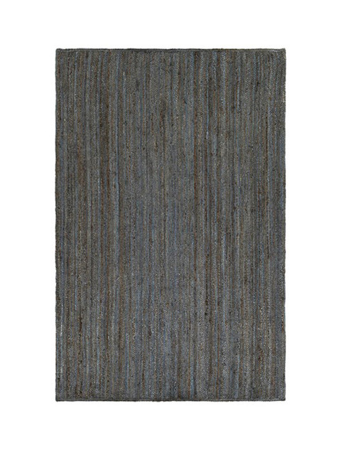 5' x 7.5' Slate Blue and Brown Hand Woven Reversible Rectangular Area Throw Rug - IMAGE 1